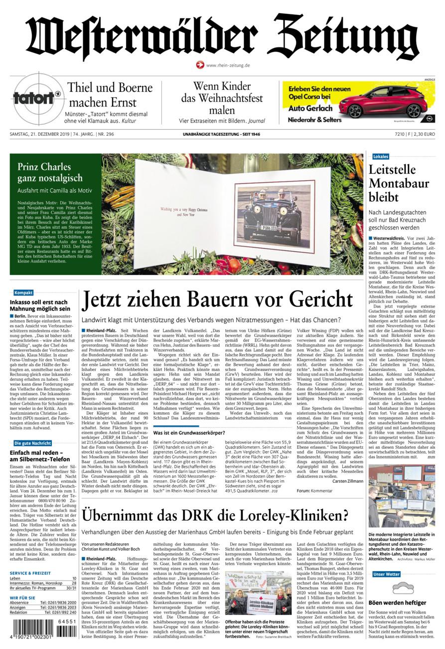Westerwälder Zeitung vom Samstag, 21.12.2019
