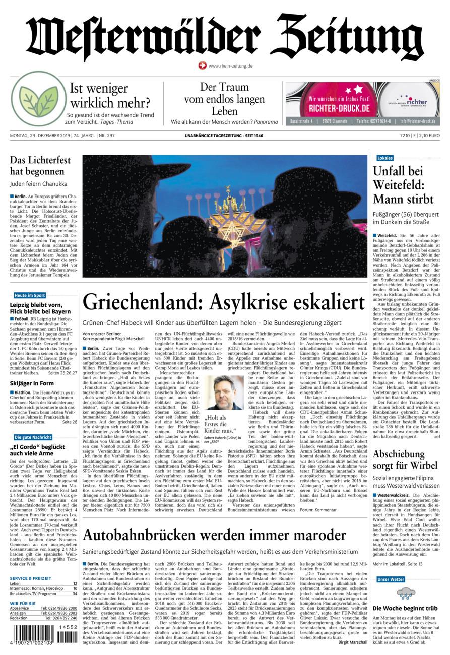Westerwälder Zeitung vom Montag, 23.12.2019