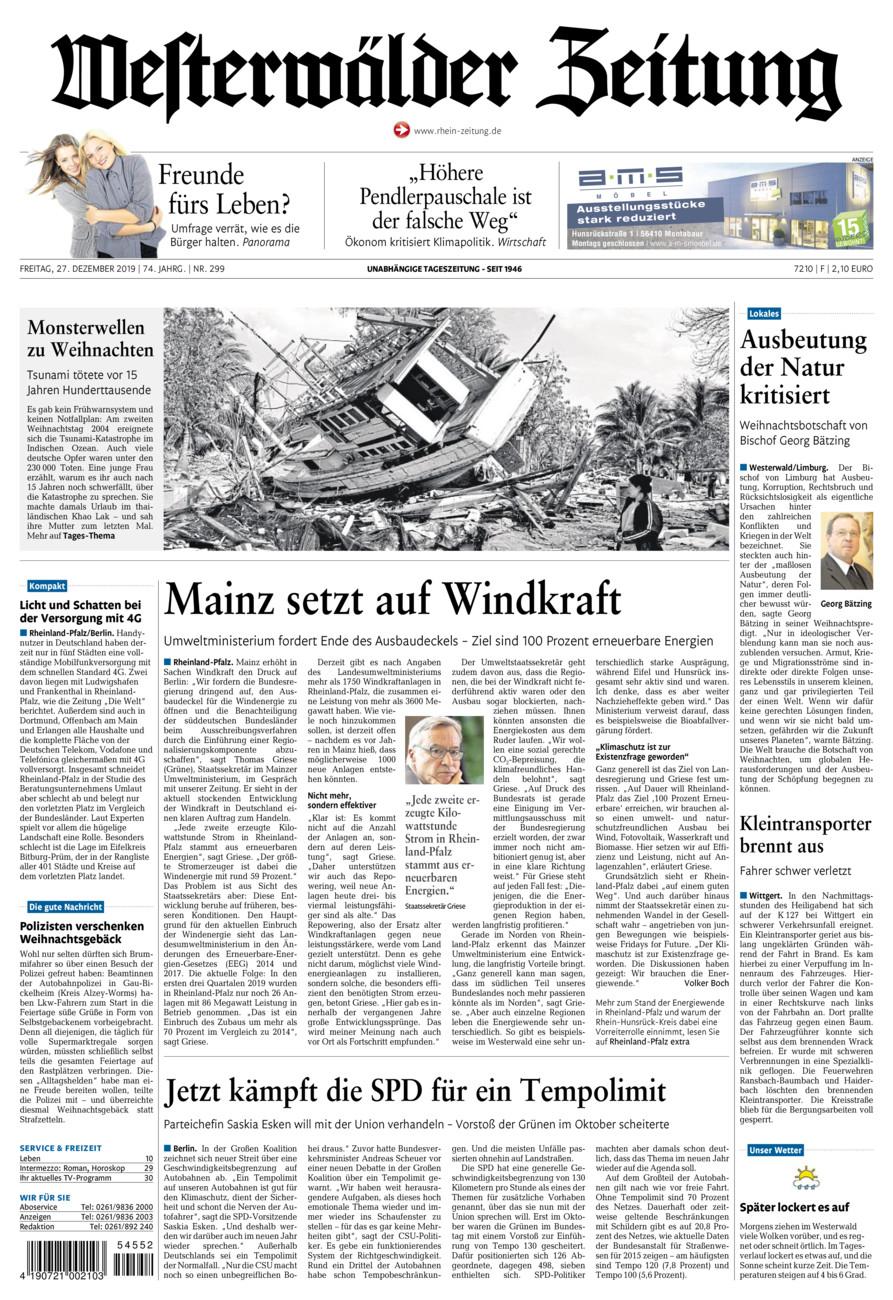 Westerwälder Zeitung vom Freitag, 27.12.2019