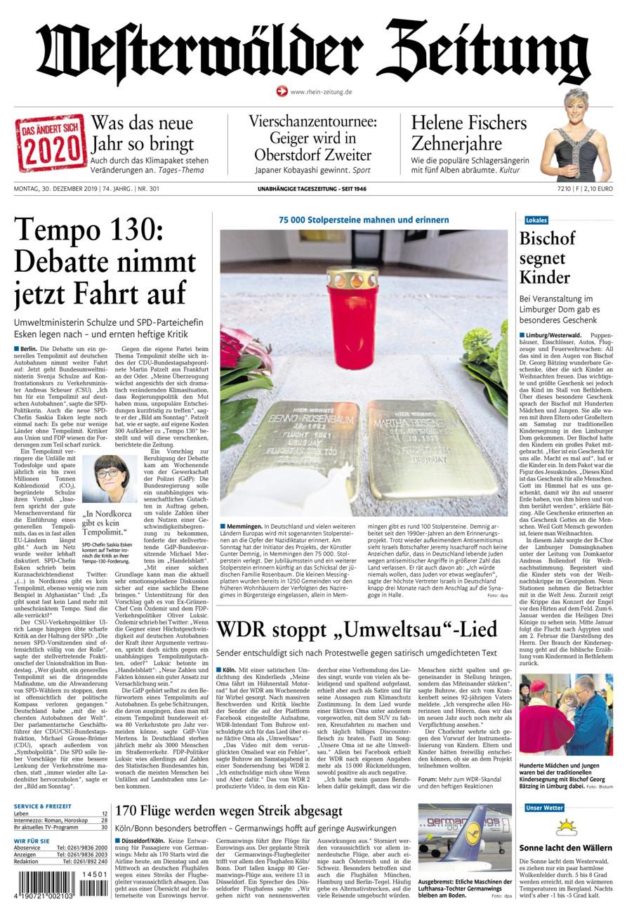 Westerwälder Zeitung vom Montag, 30.12.2019