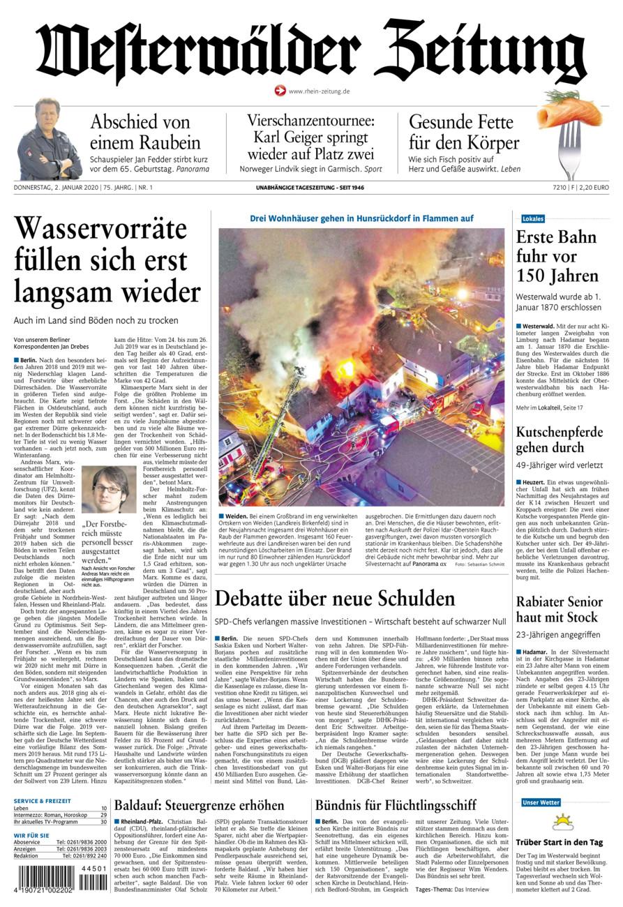 Westerwälder Zeitung vom Donnerstag, 02.01.2020
