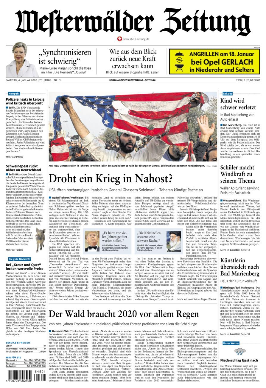 Westerwälder Zeitung vom Samstag, 04.01.2020