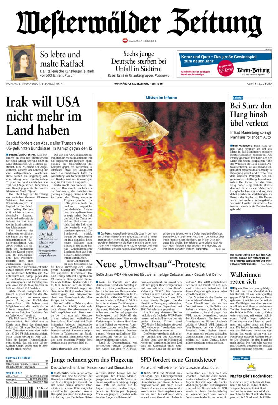 Westerwälder Zeitung vom Montag, 06.01.2020