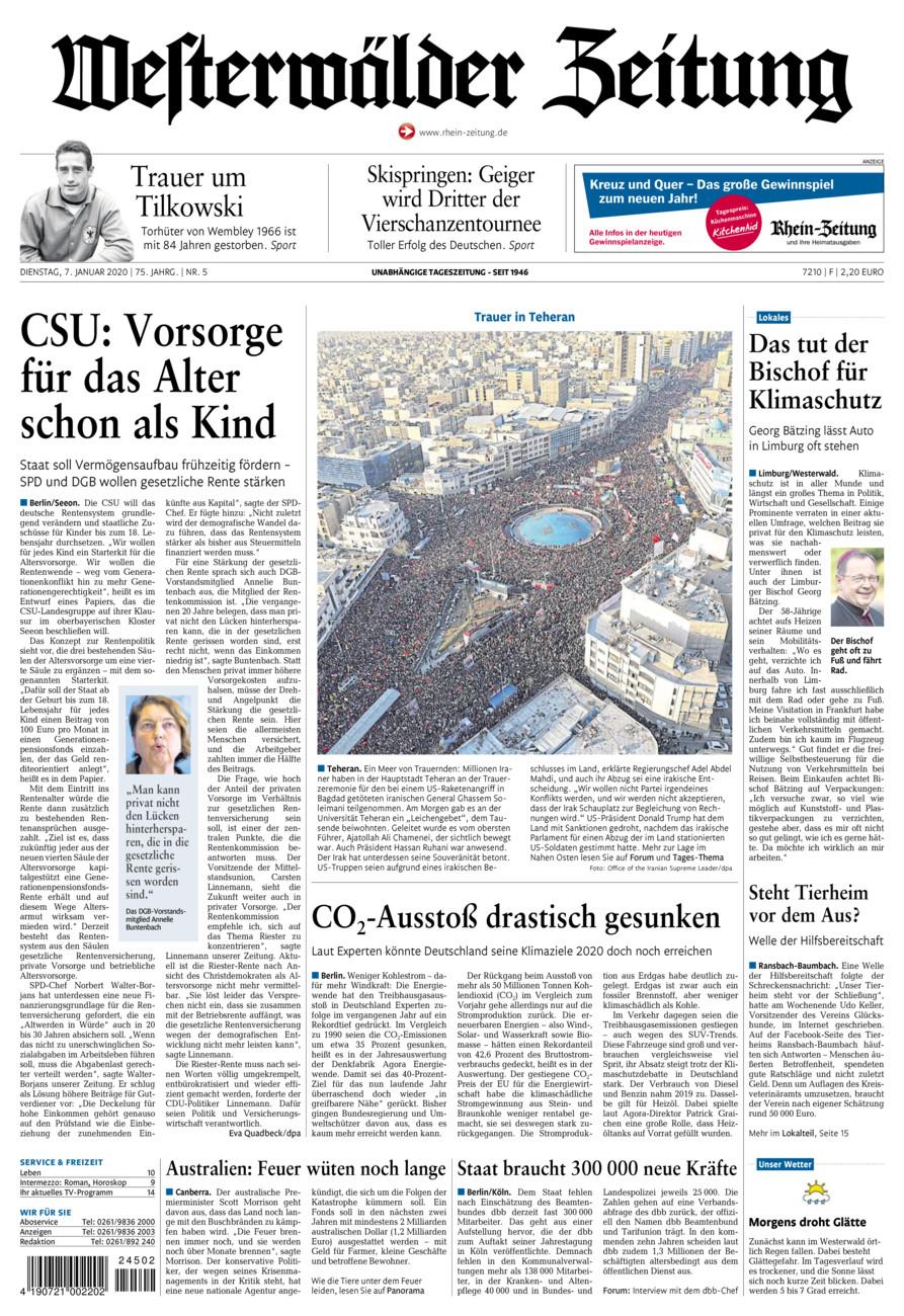 Westerwälder Zeitung vom Dienstag, 07.01.2020