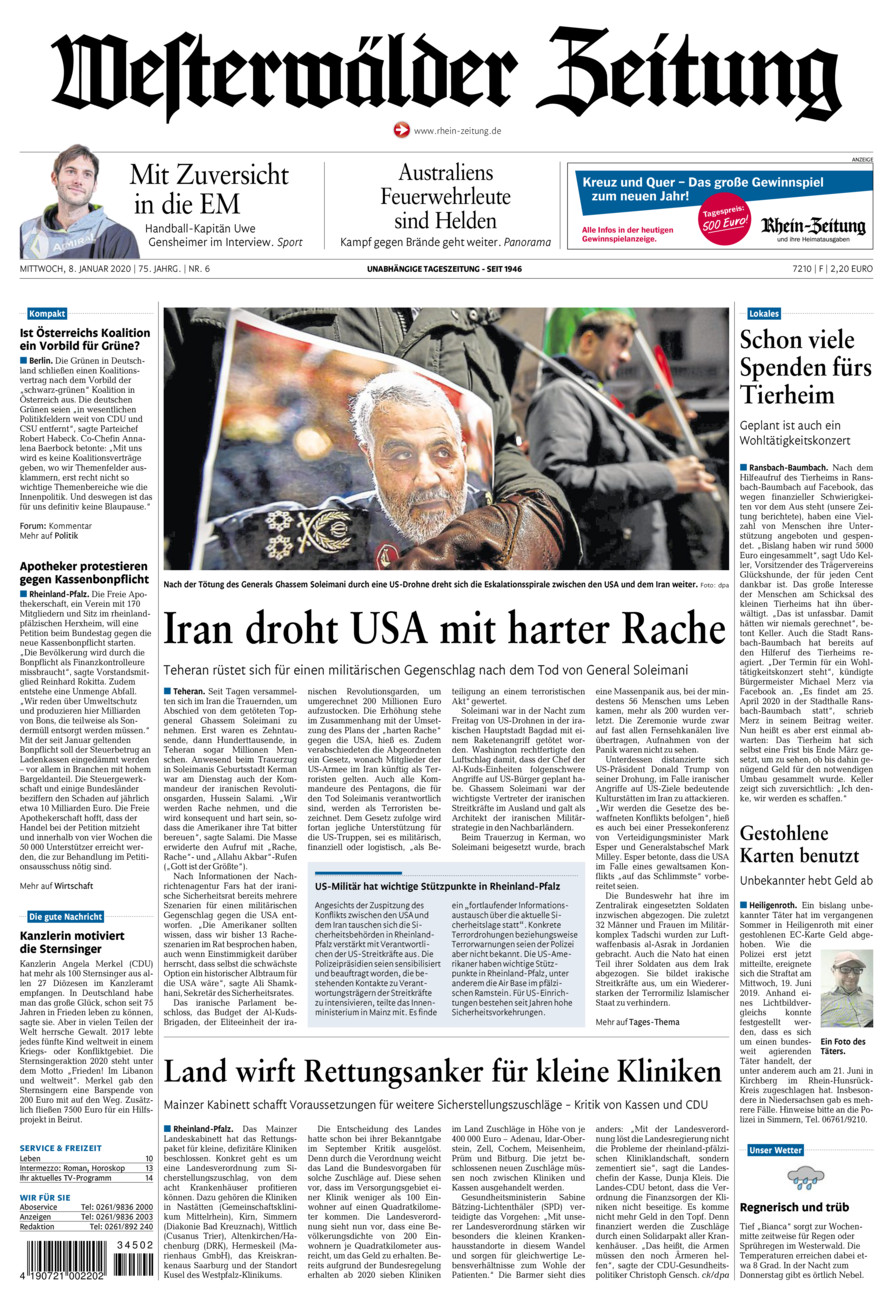 Westerwälder Zeitung vom Mittwoch, 08.01.2020