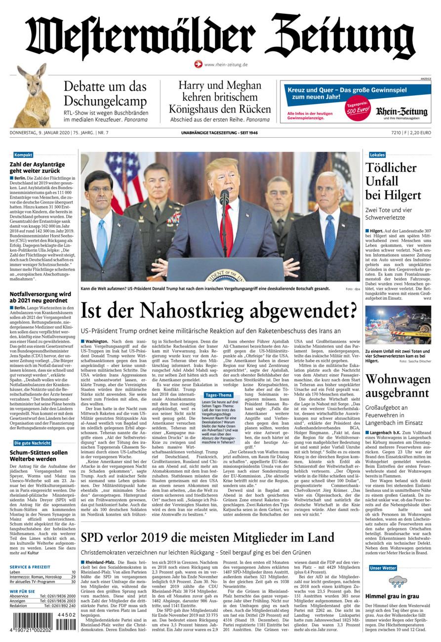Westerwälder Zeitung vom Donnerstag, 09.01.2020