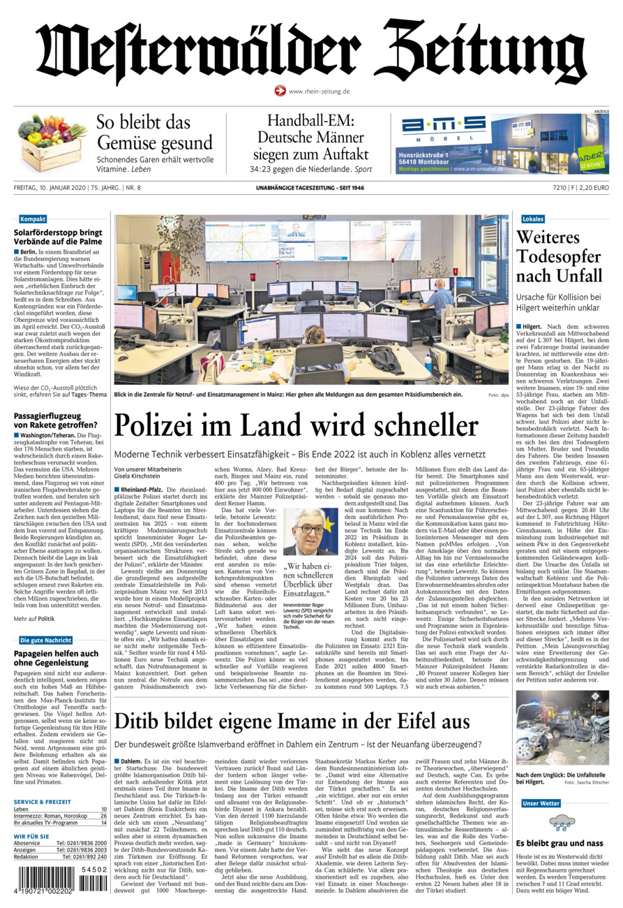 Westerwälder Zeitung vom Freitag, 10.01.2020