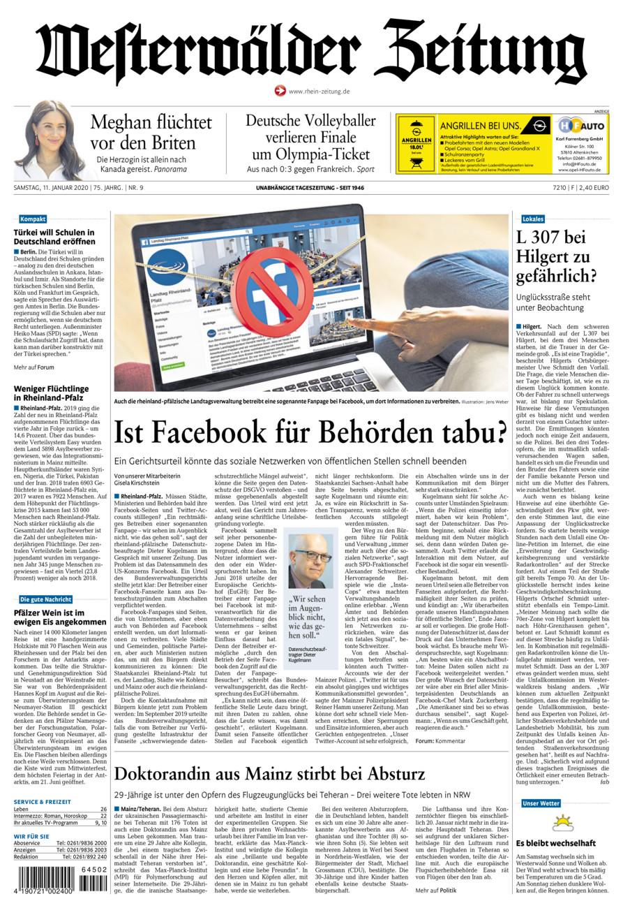 Westerwälder Zeitung vom Samstag, 11.01.2020