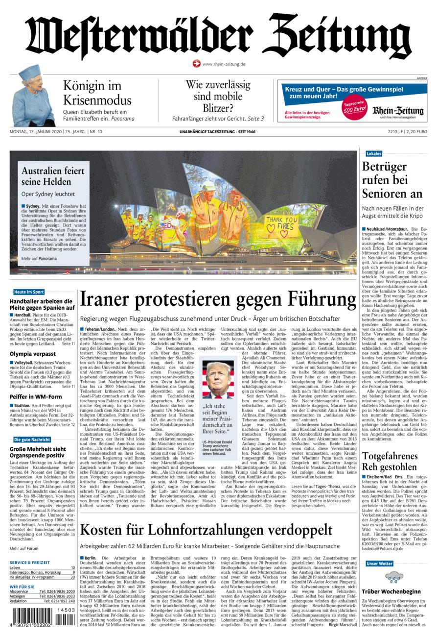 Westerwälder Zeitung vom Montag, 13.01.2020