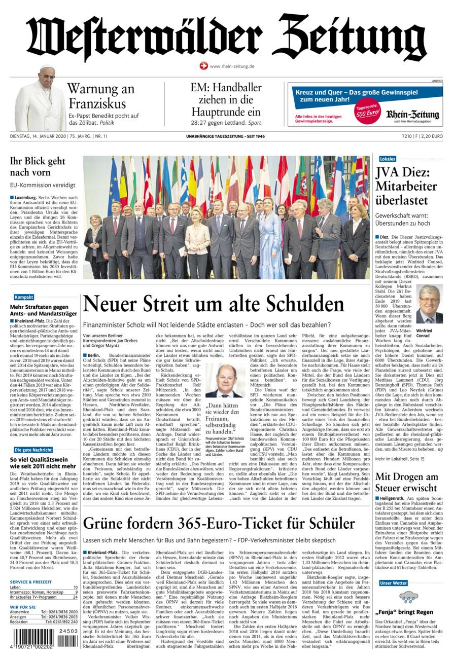 Westerwälder Zeitung vom Dienstag, 14.01.2020