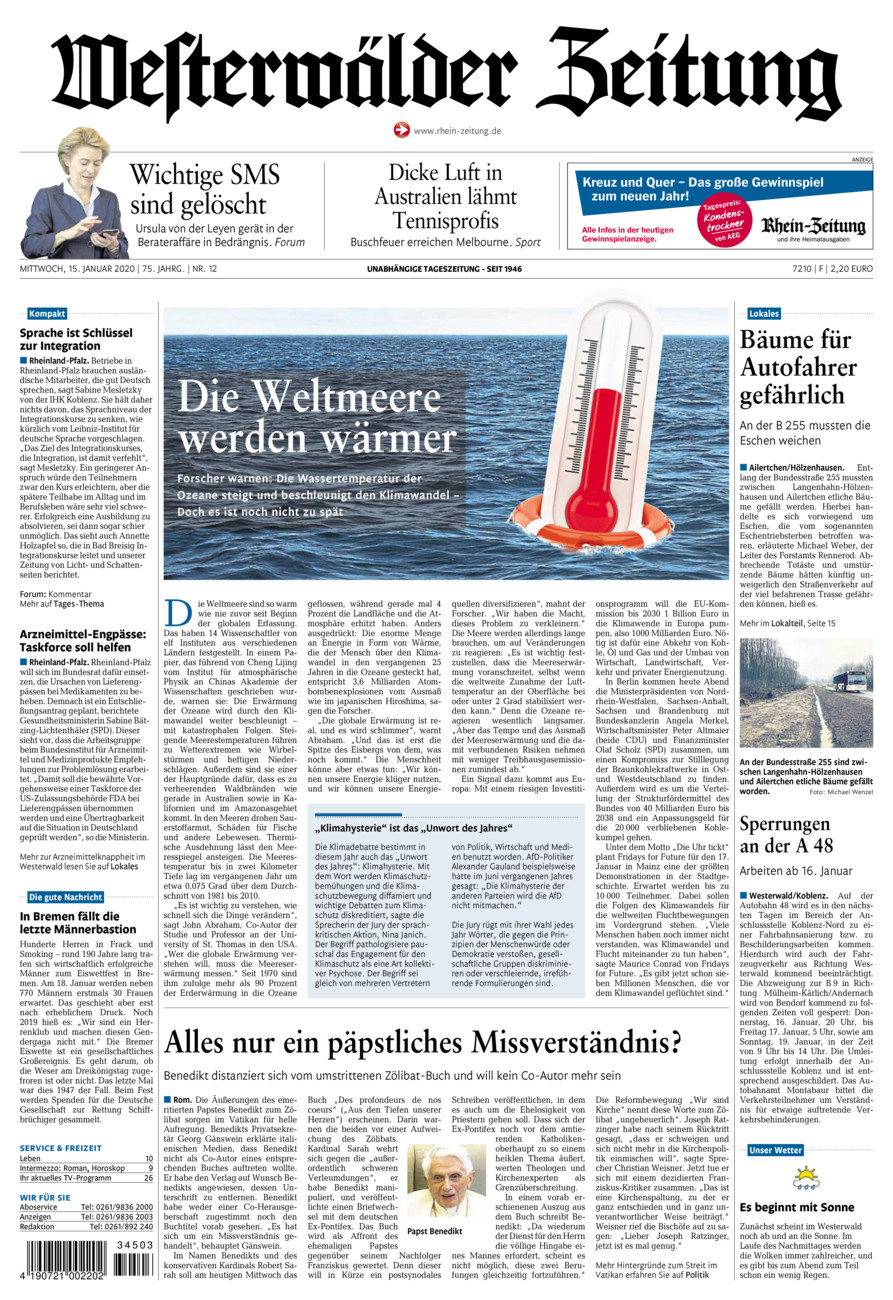 Westerwälder Zeitung vom Mittwoch, 15.01.2020