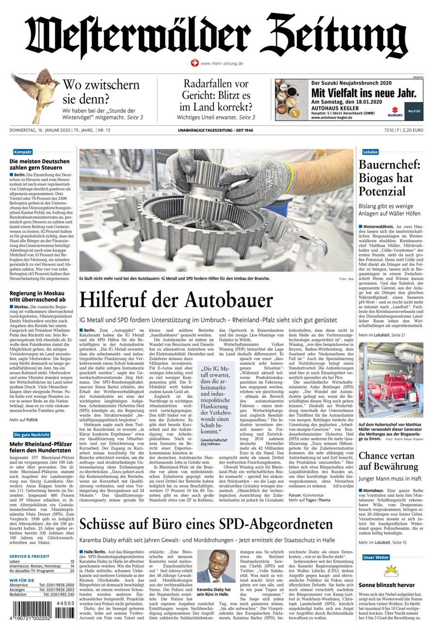 Westerwälder Zeitung vom Donnerstag, 16.01.2020