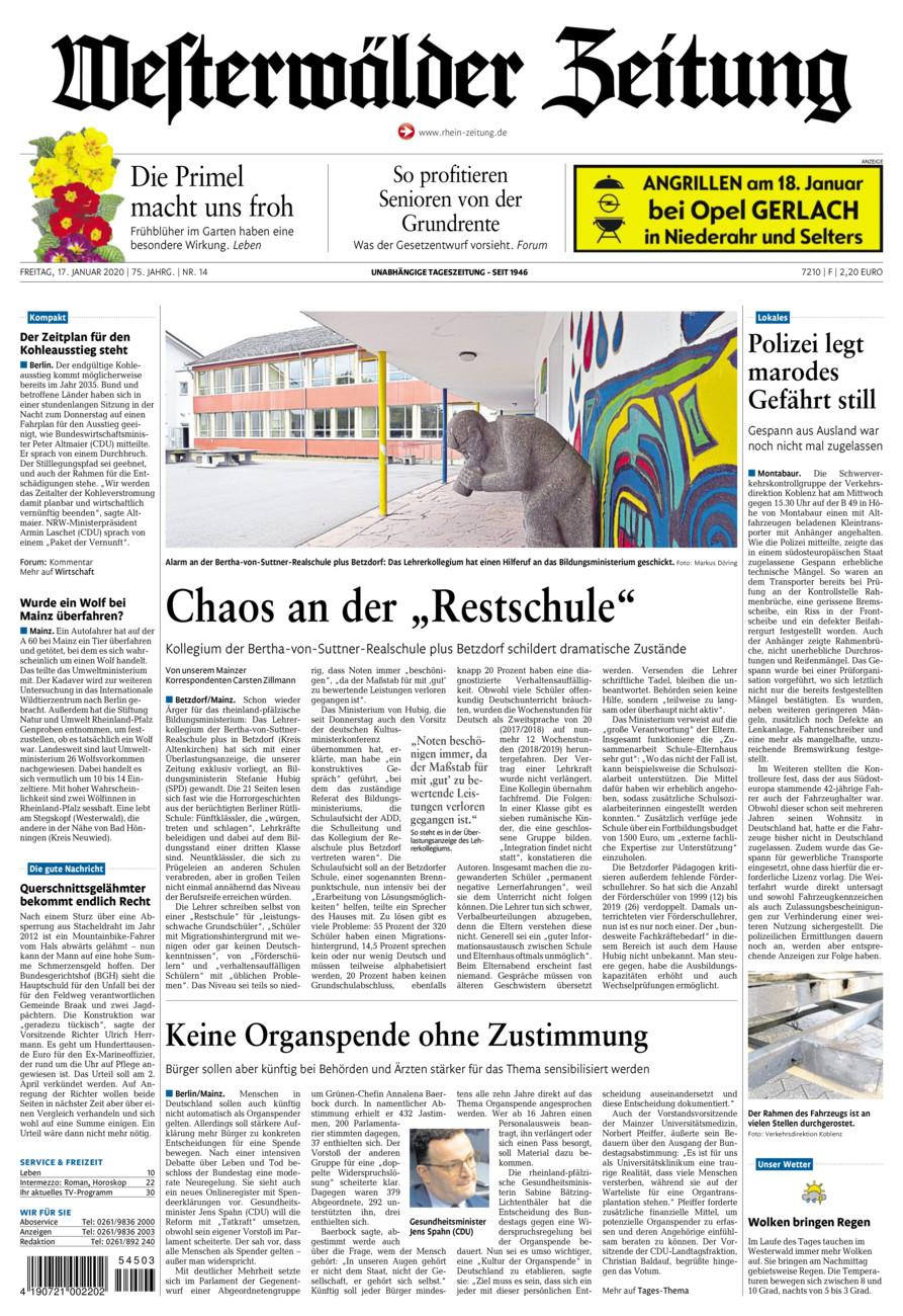 Westerwälder Zeitung vom Freitag, 17.01.2020