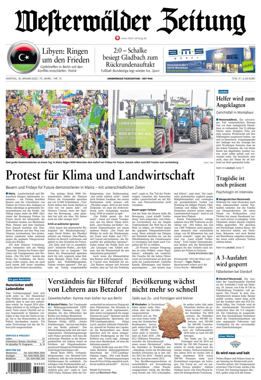 Westerwälder Zeitung vom Samstag, 18.01.2020