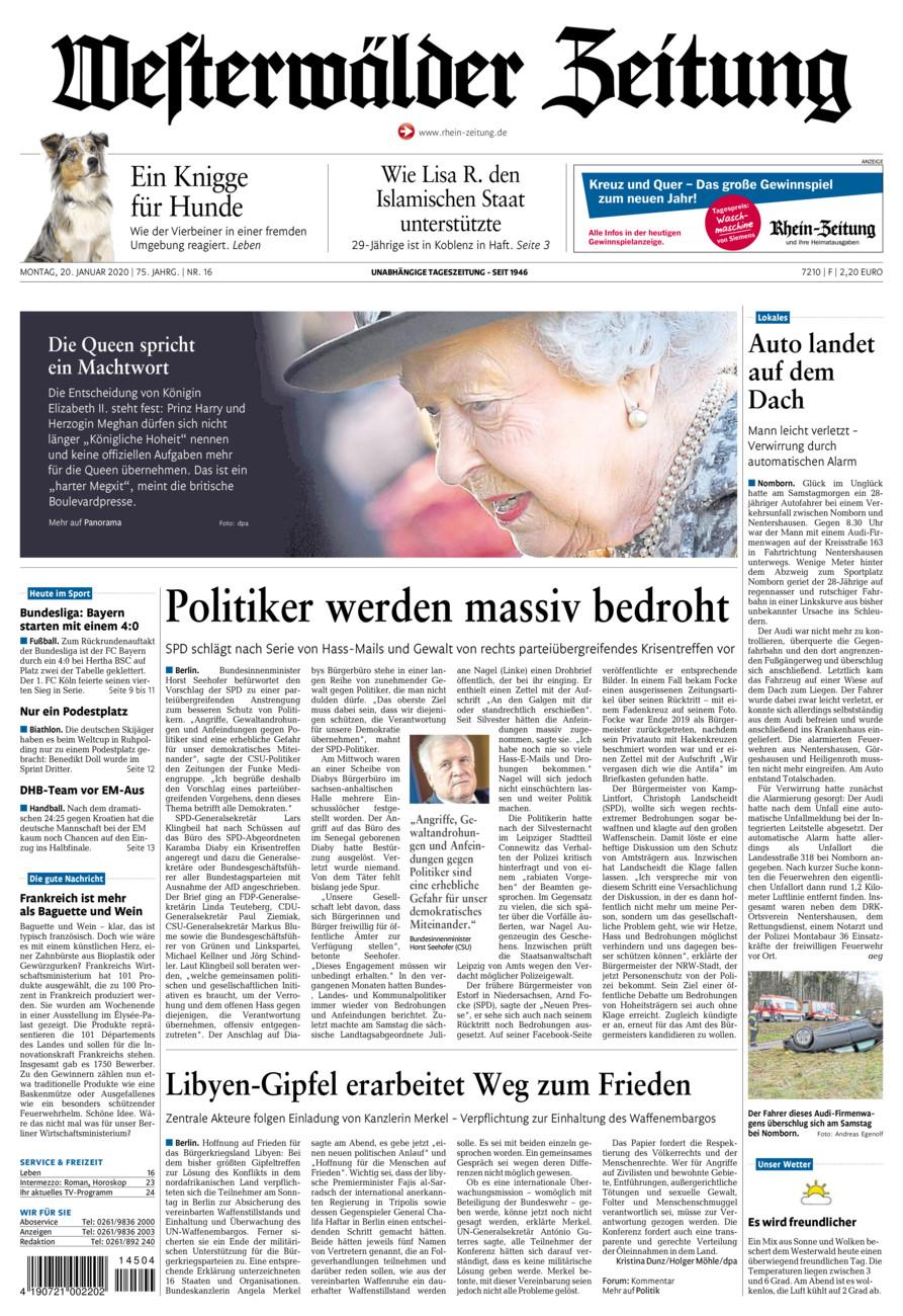 Westerwälder Zeitung vom Montag, 20.01.2020