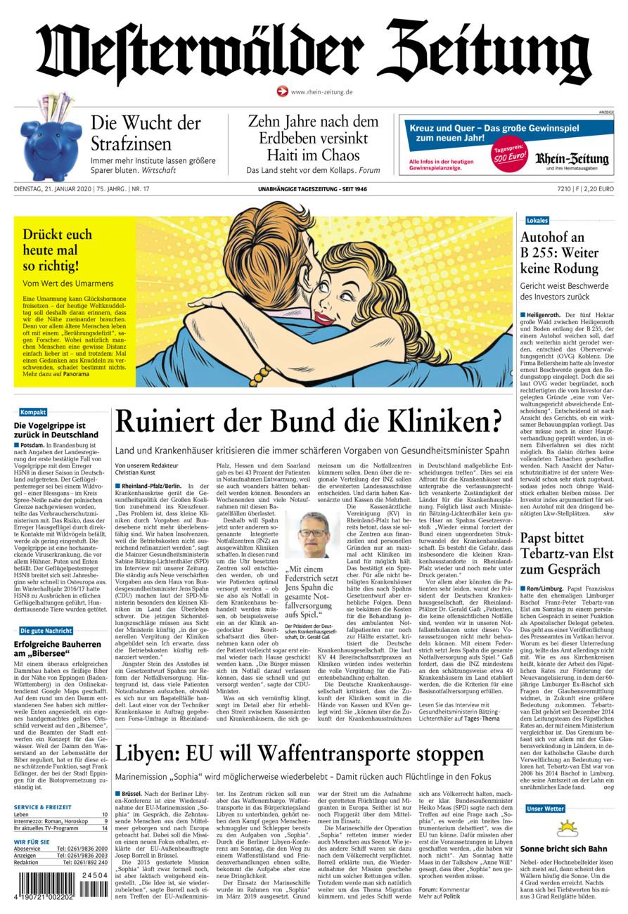 Westerwälder Zeitung vom Dienstag, 21.01.2020