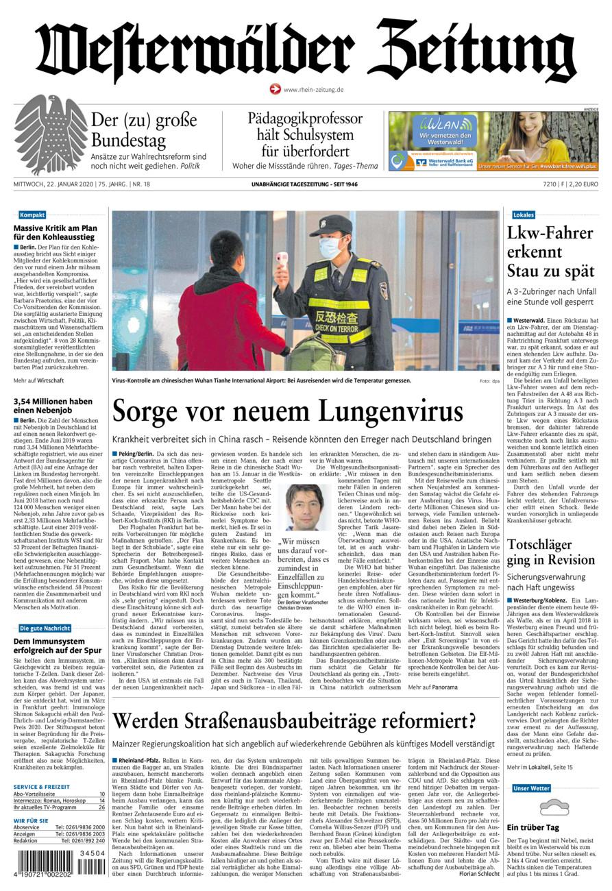 Westerwälder Zeitung vom Mittwoch, 22.01.2020