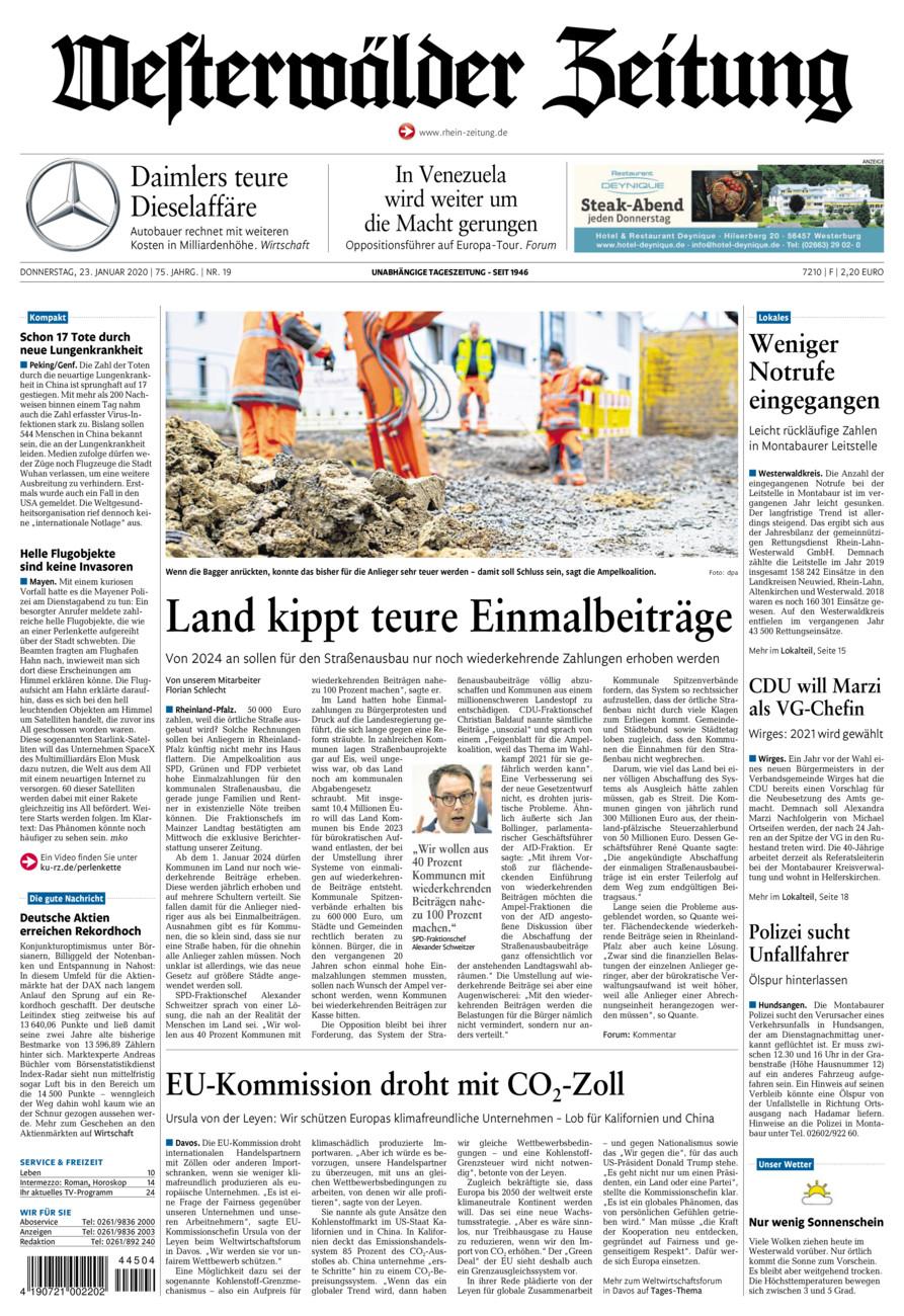 Westerwälder Zeitung vom Donnerstag, 23.01.2020