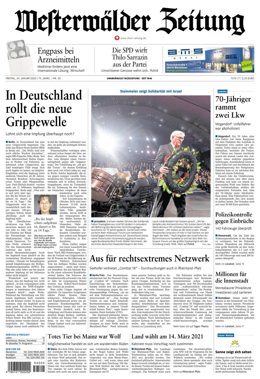 Westerwälder Zeitung vom Freitag, 24.01.2020
