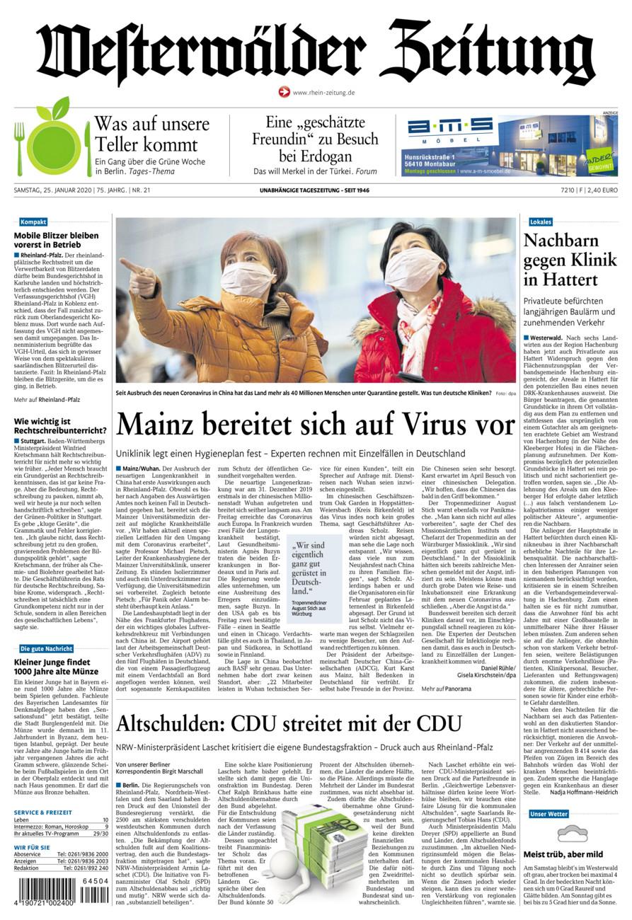 Westerwälder Zeitung vom Samstag, 25.01.2020