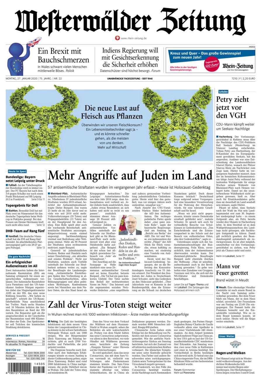 Westerwälder Zeitung vom Montag, 27.01.2020