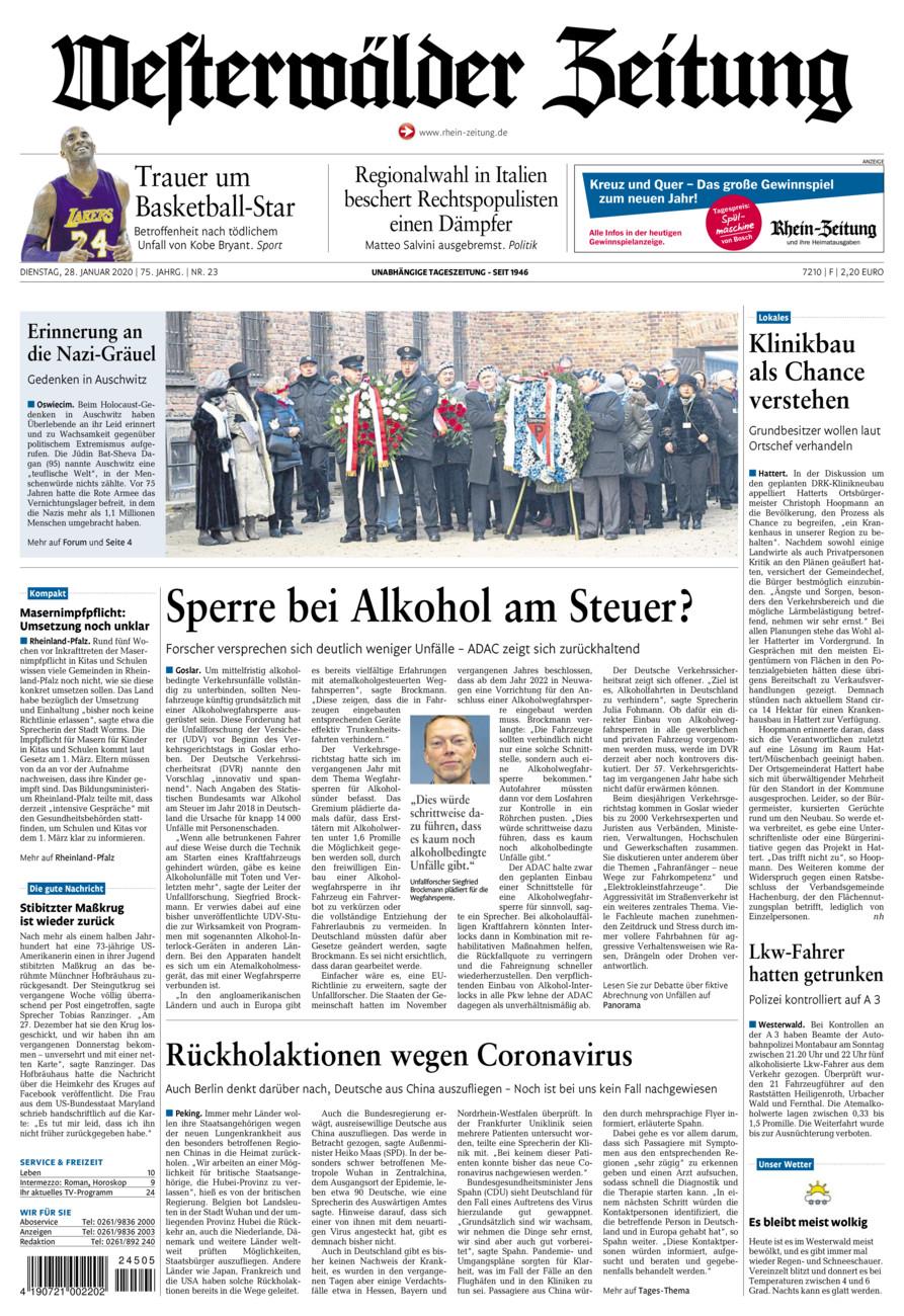 Westerwälder Zeitung vom Dienstag, 28.01.2020