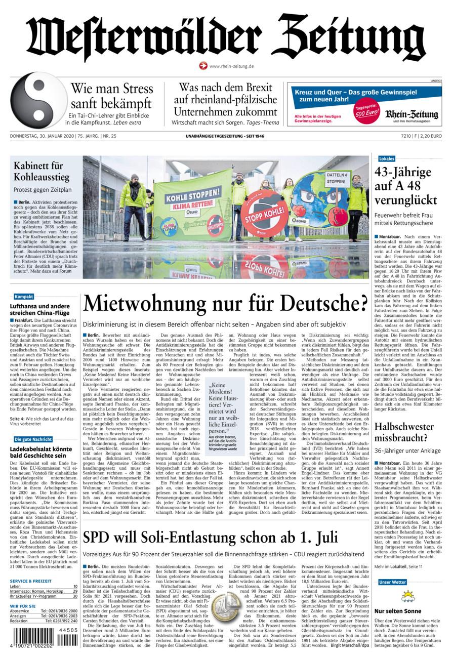 Westerwälder Zeitung vom Donnerstag, 30.01.2020
