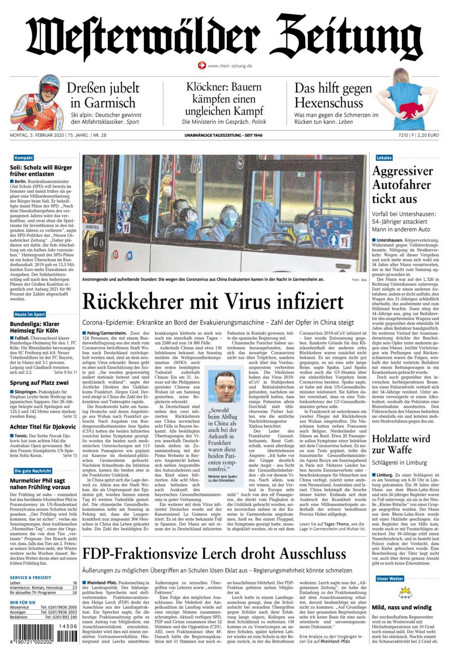 Westerwälder Zeitung vom Montag, 03.02.2020