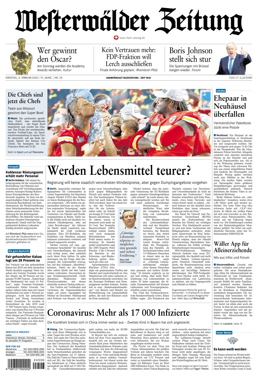 Westerwälder Zeitung vom Dienstag, 04.02.2020
