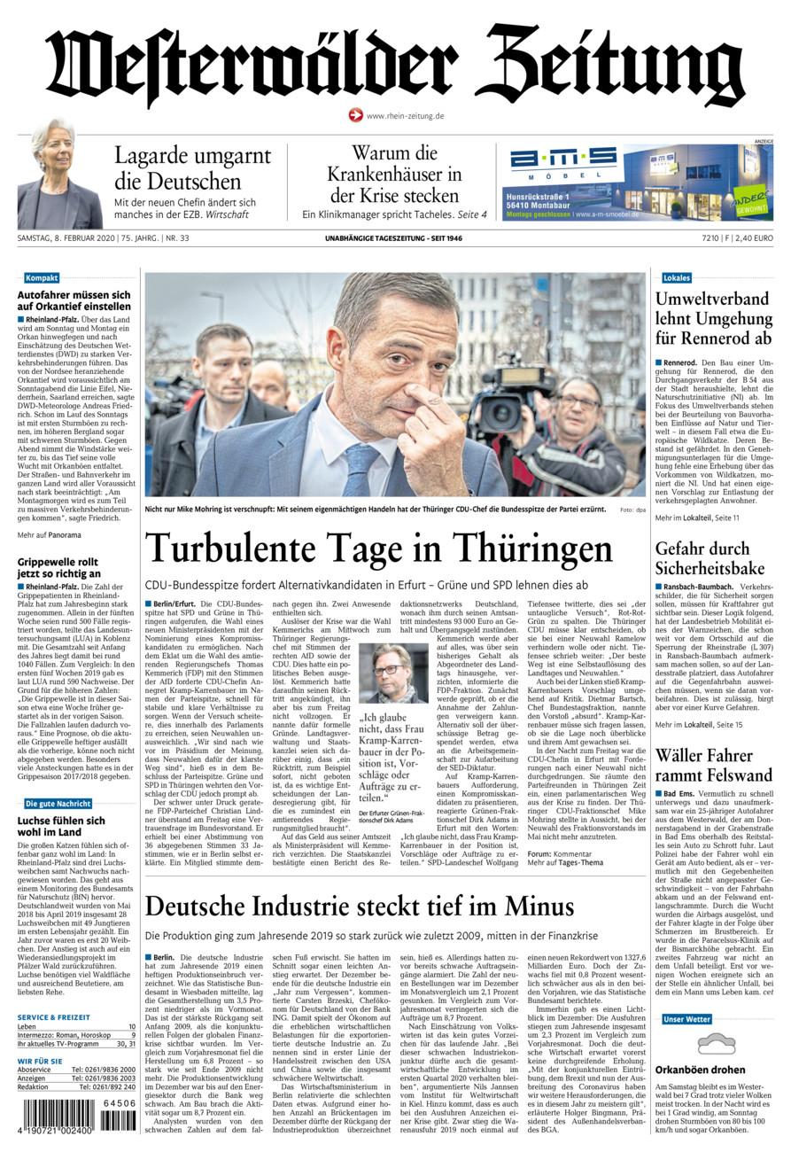 Westerwälder Zeitung vom Samstag, 08.02.2020