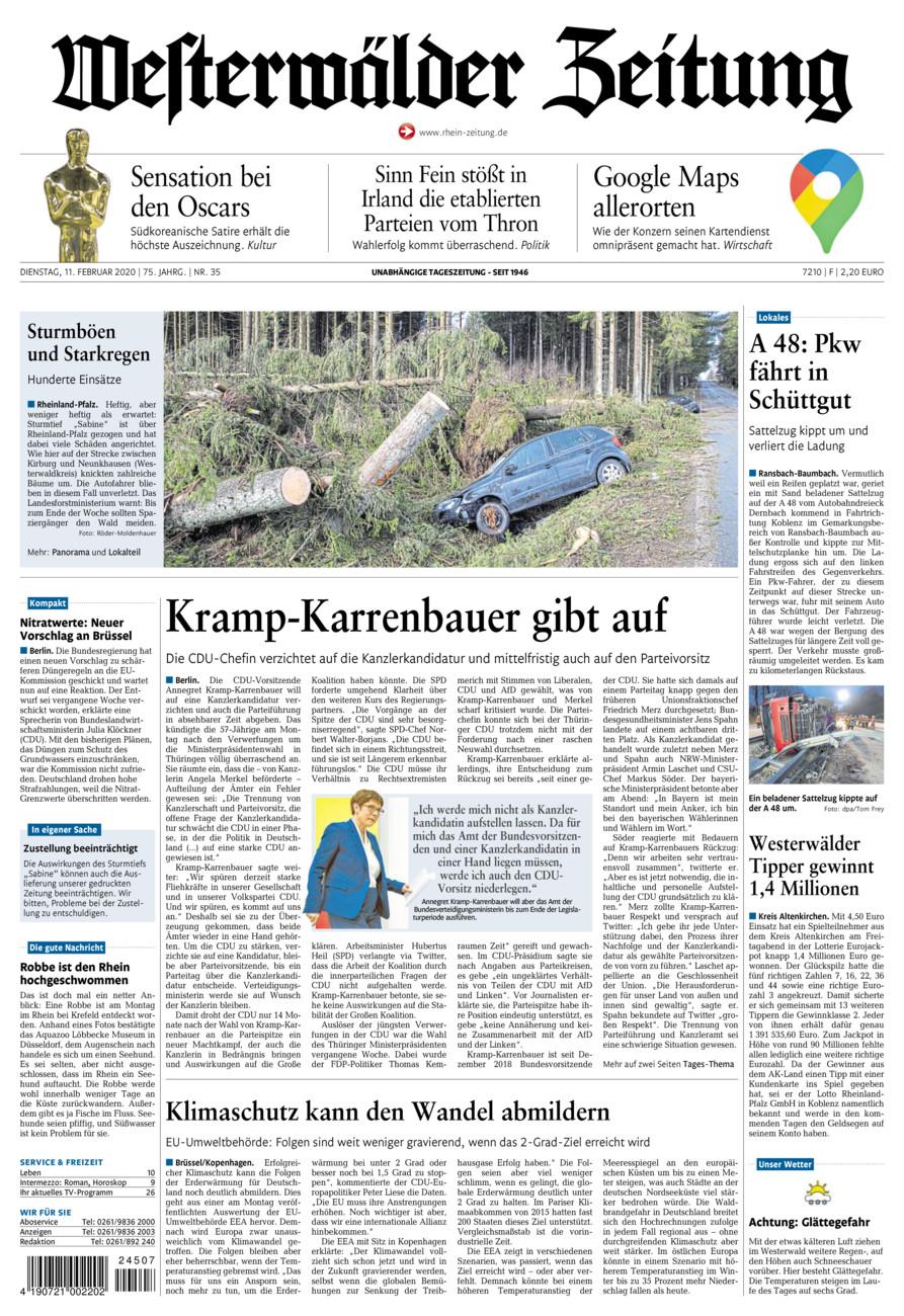 Westerwälder Zeitung vom Dienstag, 11.02.2020