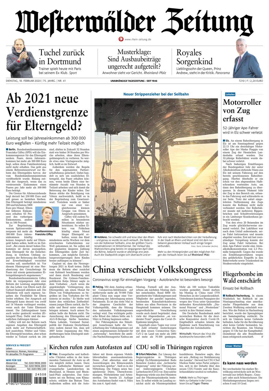 Westerwälder Zeitung vom Dienstag, 18.02.2020