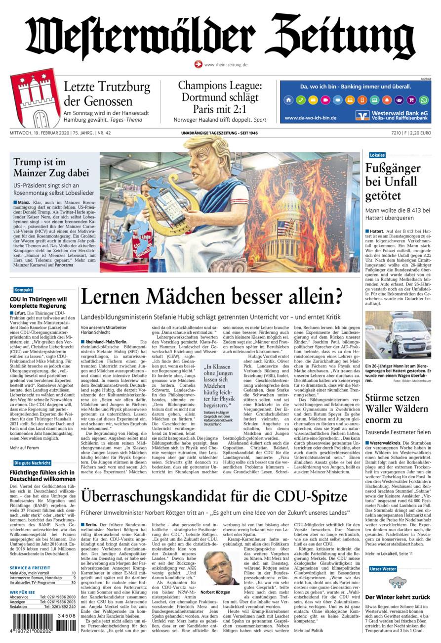 Westerwälder Zeitung vom Mittwoch, 19.02.2020