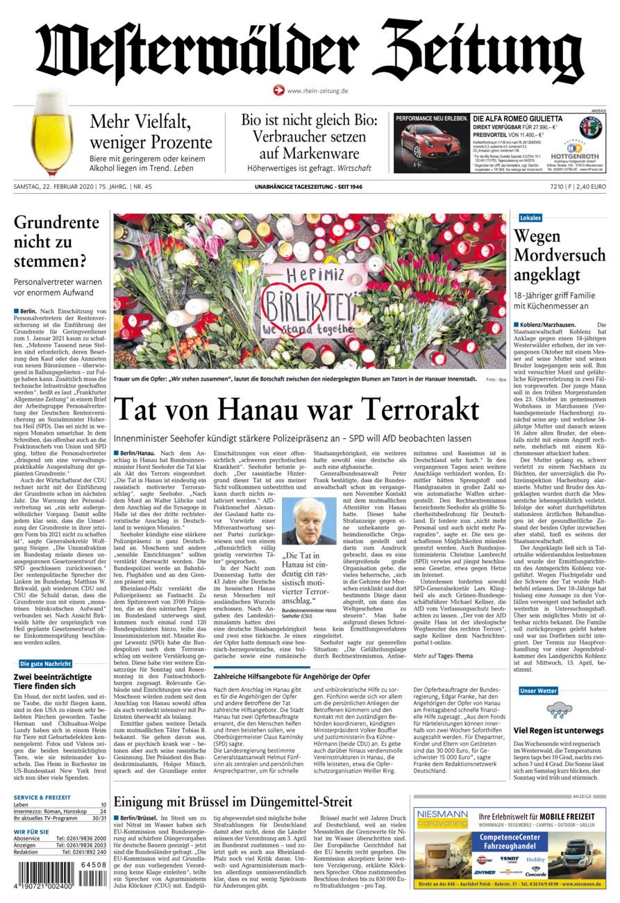 Westerwälder Zeitung vom Samstag, 22.02.2020