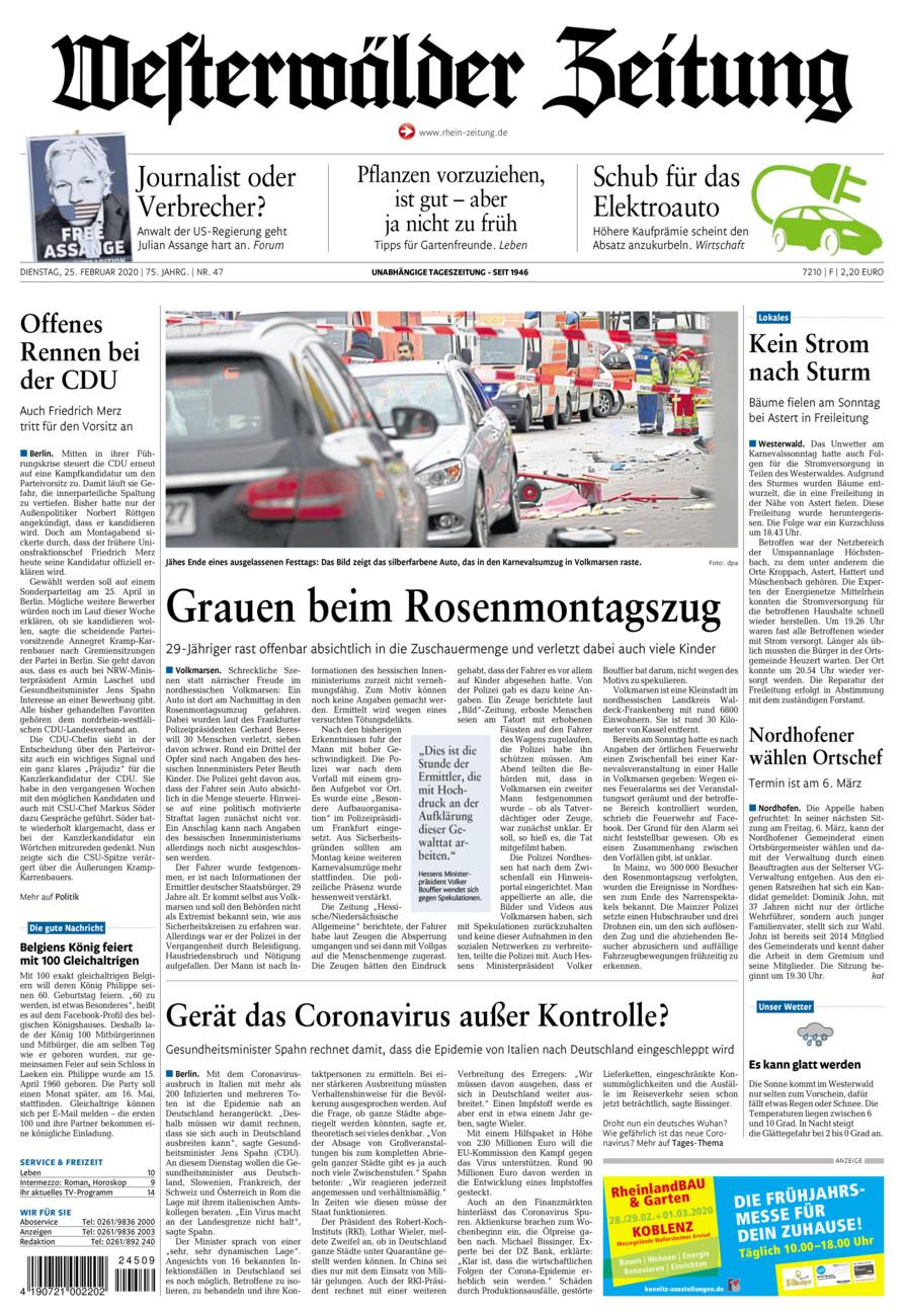 Westerwälder Zeitung vom Dienstag, 25.02.2020