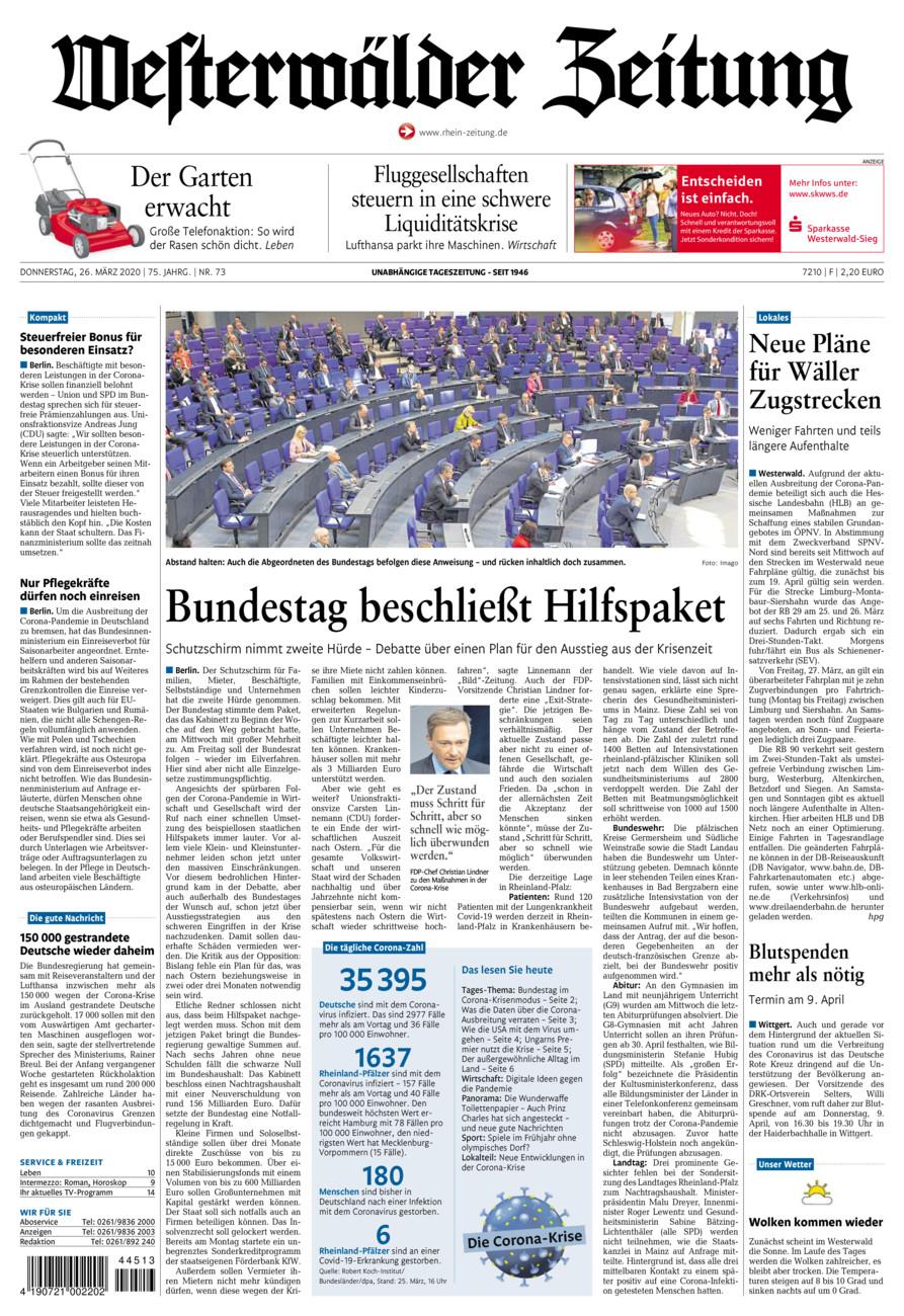 Westerwälder Zeitung vom Donnerstag, 26.03.2020