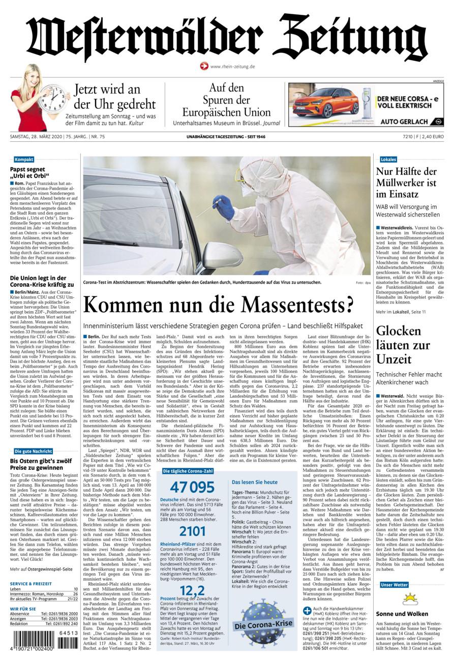 Westerwälder Zeitung vom Samstag, 28.03.2020