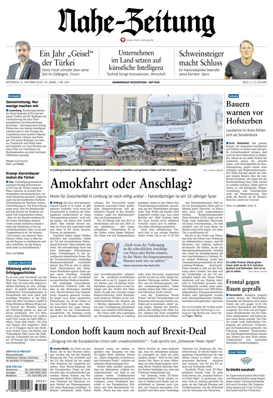 Nahe-Zeitung vom Mittwoch, 09.10.2019