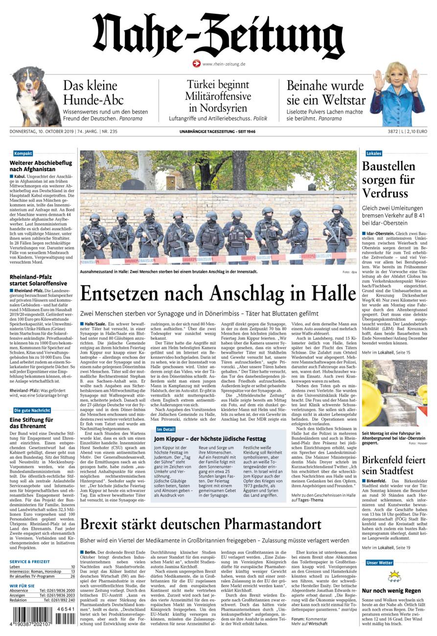 Nahe-Zeitung vom Donnerstag, 10.10.2019