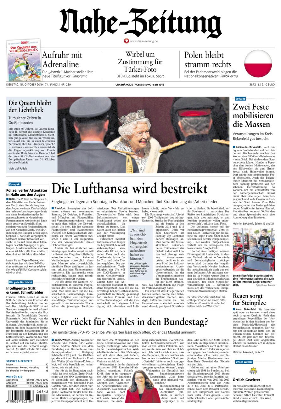 Nahe-Zeitung vom Dienstag, 15.10.2019