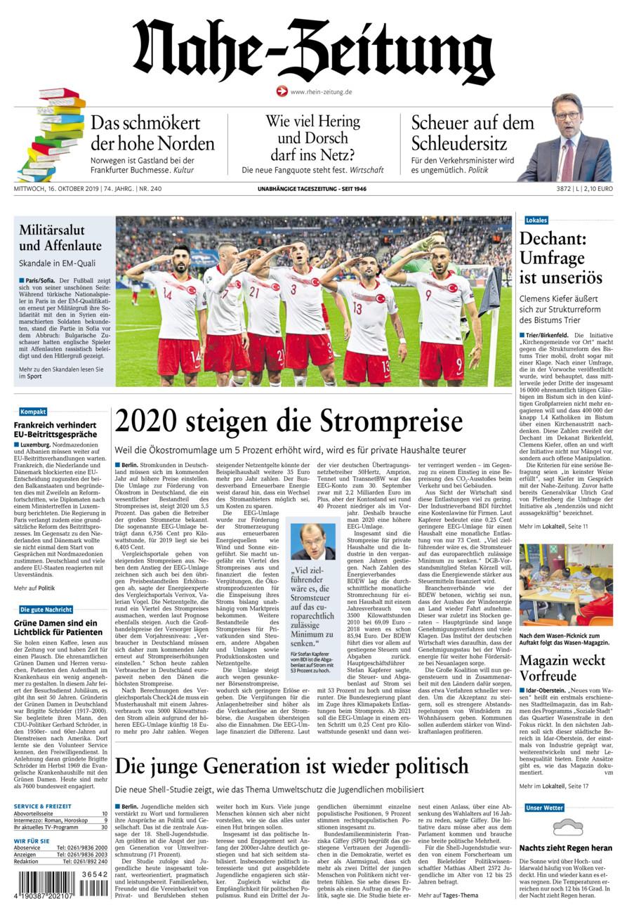Nahe-Zeitung vom Mittwoch, 16.10.2019