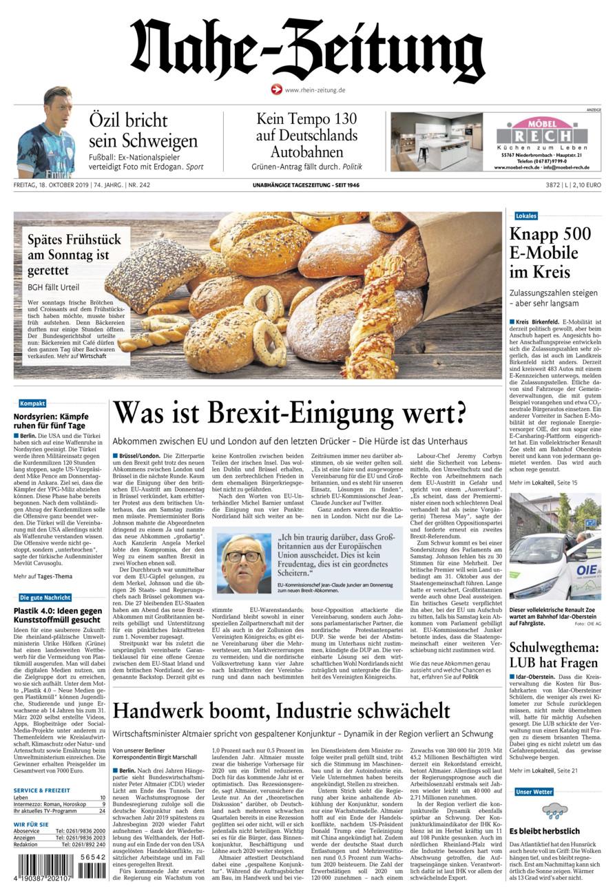 Nahe-Zeitung vom Freitag, 18.10.2019
