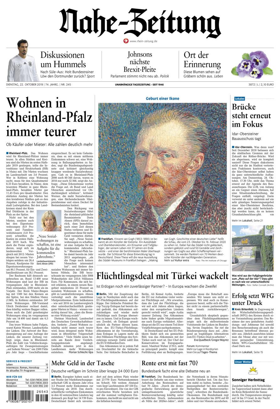 Nahe-Zeitung vom Dienstag, 22.10.2019