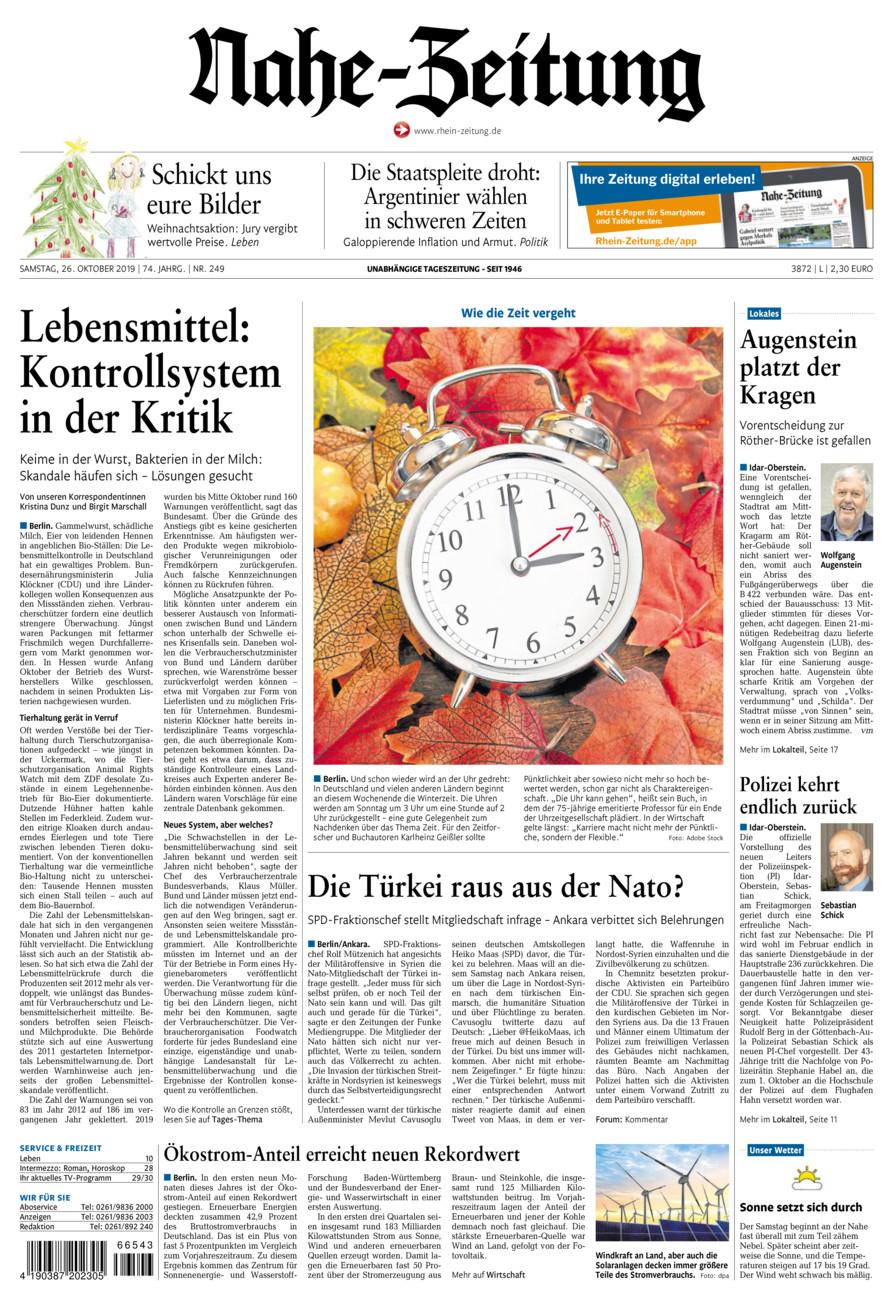 Nahe-Zeitung vom Samstag, 26.10.2019