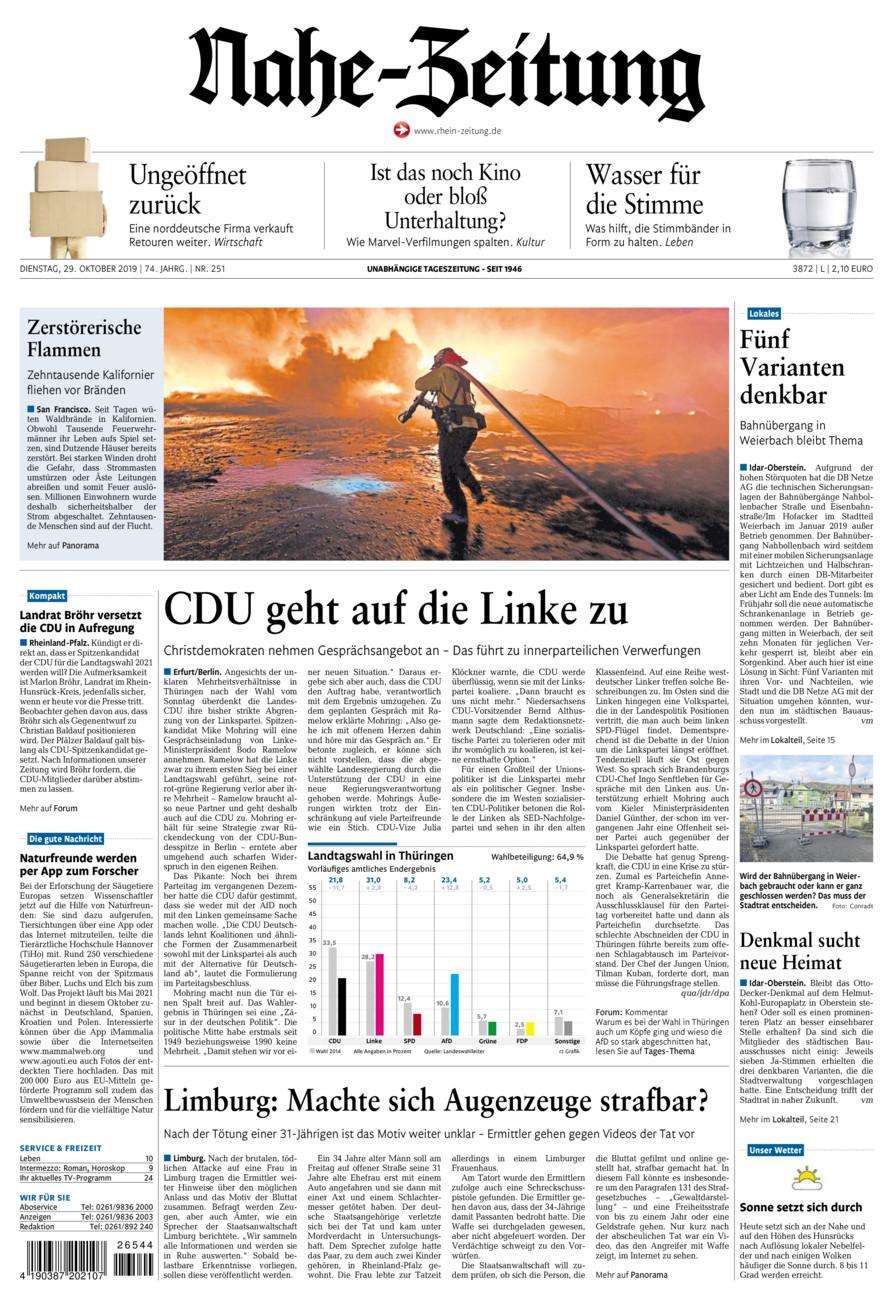 Nahe-Zeitung vom Dienstag, 29.10.2019