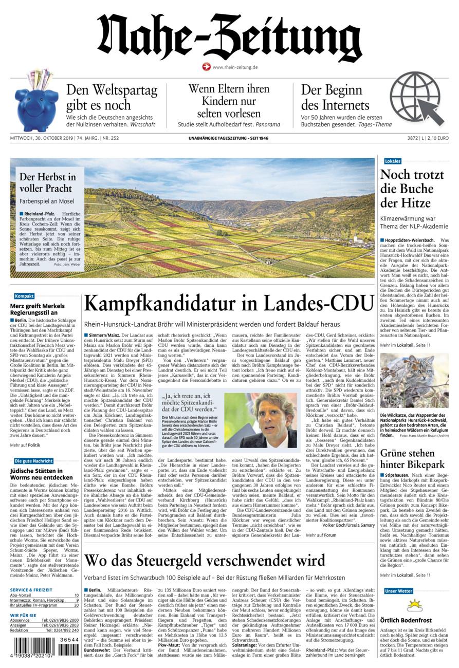 Nahe-Zeitung vom Mittwoch, 30.10.2019