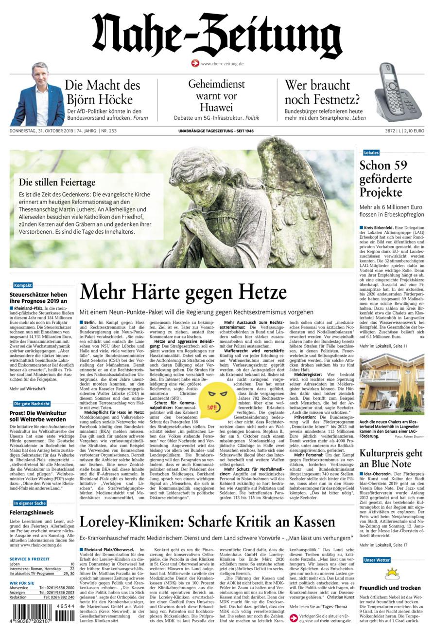 Nahe-Zeitung vom Donnerstag, 31.10.2019