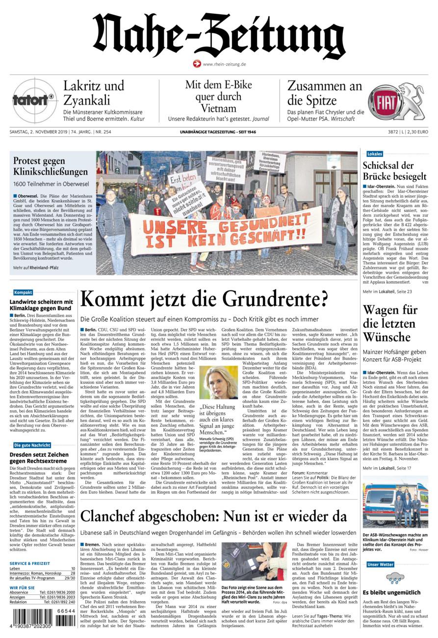 Nahe-Zeitung vom Samstag, 02.11.2019