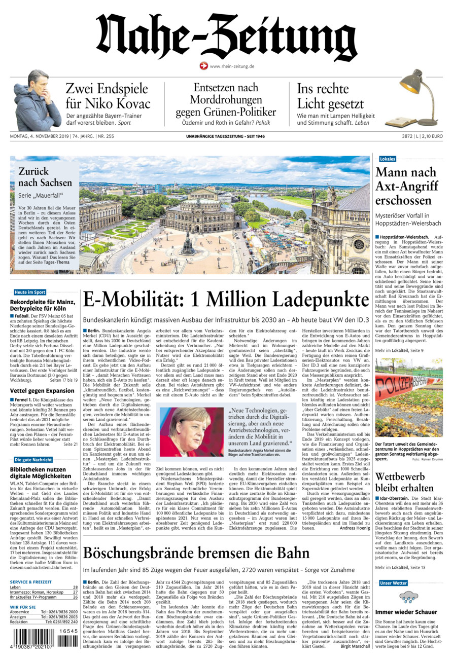 Nahe-Zeitung vom Montag, 04.11.2019