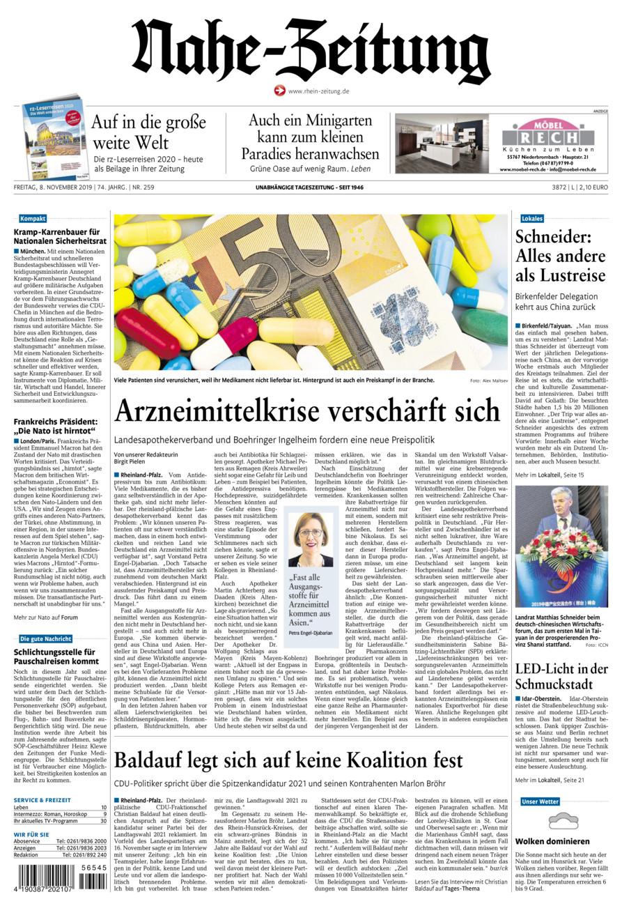 Nahe-Zeitung vom Freitag, 08.11.2019